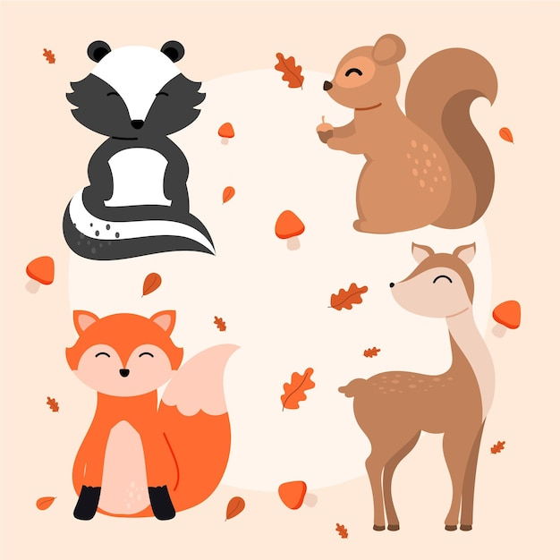 Conjunto de animais da floresta de outono mão desenhada Vetor grátis