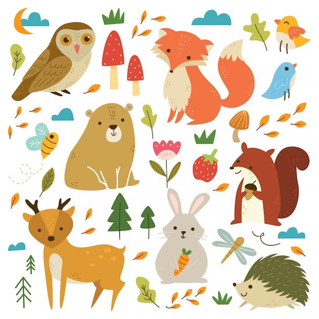 Conjunto de animais da floresta Vetor Premium