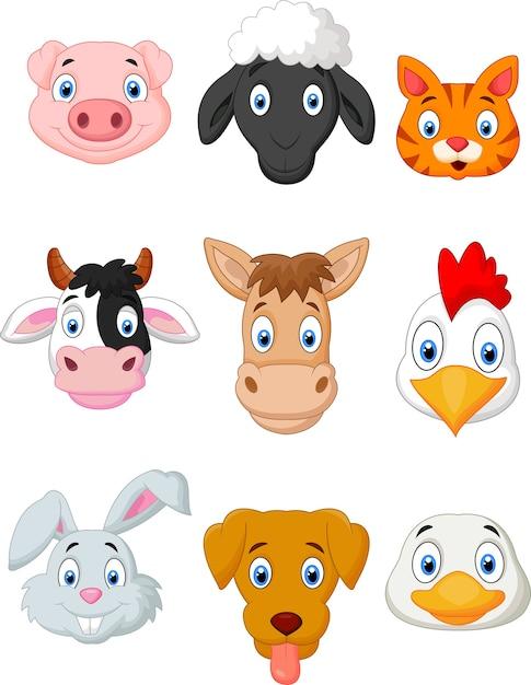 Conjunto de animais de fazenda dos desenhos animados Vetor Premium
