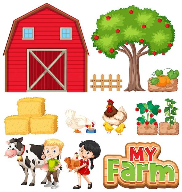 Conjunto de animais de fazenda e celeiro em fundo branco Vetor grátis