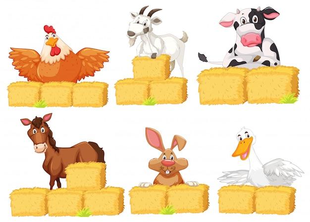 Conjunto de animais de fazenda Vetor grátis