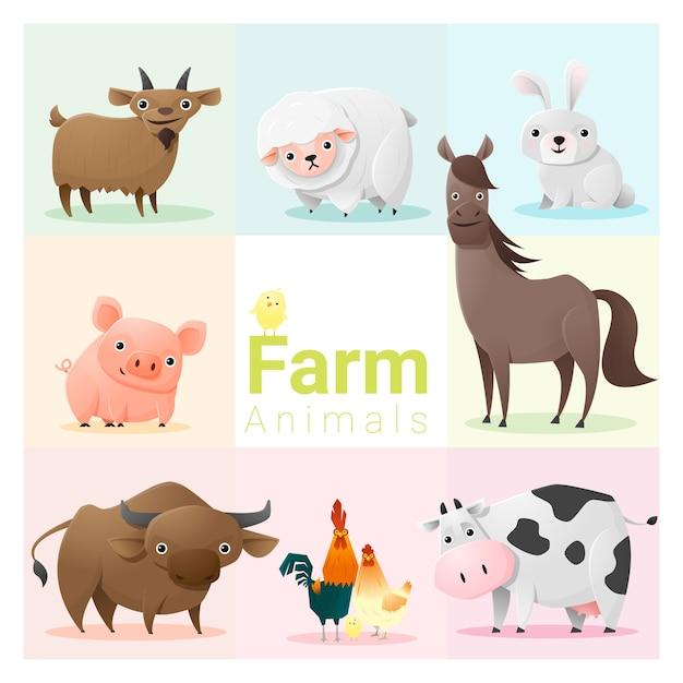 Conjunto de animais de fazenda Vetor Premium
