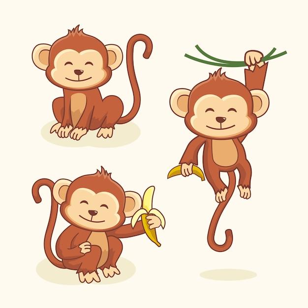 Conjunto de animais de macaco bonito dos desenhos animados Vetor Premium