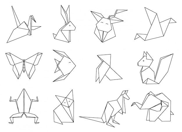 Conjunto de animais de origami. Vetor Premium