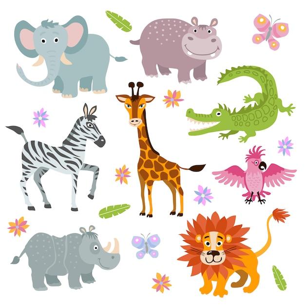 Conjunto de animais de savana africana bonito dos desenhos animados Vetor Premium