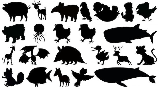 Conjunto de animais de silhueta Vetor Premium