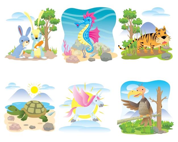 Conjunto de animais de vetor, coelho, cavalo-marinho, tigre, tartaruga, cavalo, unicórnio, Vetor Premium