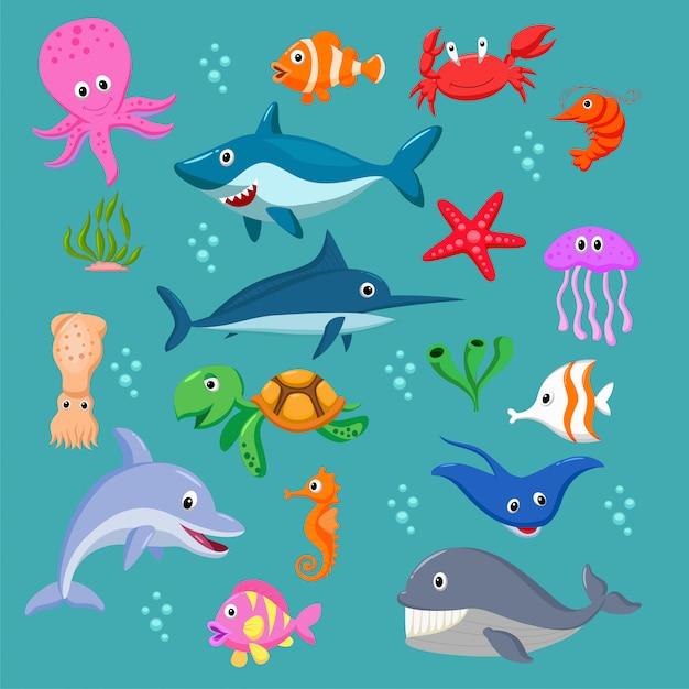 Conjunto de animais do mar dos desenhos animados Vetor Premium