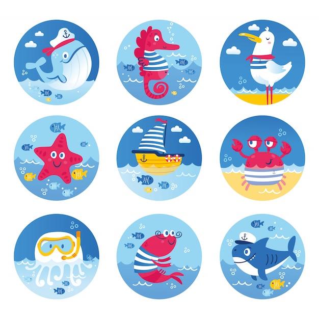 Conjunto de animais do mar peixe tubarão baleia água-viva estrela cavalo-marinho tartaruga. ilustração para cartões de scrapbooking de convites de festa de aniversário de roupas e adesivo Vetor Premium
