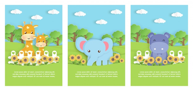 Conjunto de animais do zoológico com elefante, hipopótamo e girafa no jardim para cartão de modelo de aniversário, cartão postal. estilo de corte de papel. Vetor Premium