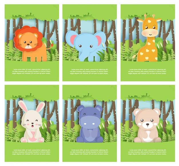 Conjunto de animais do zoológico com leo, elefante, urso, coelho, hipopótamo e girafa na floresta para cartão de aniversário, cartão postal. estilo de corte de papel. Vetor Premium