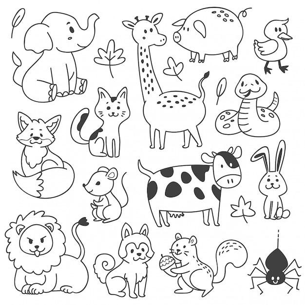 Conjunto de animais doodle isolado no branco Vetor Premium