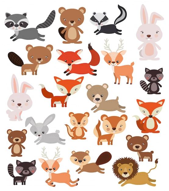 Conjunto de animais em estilo simples Vetor grátis