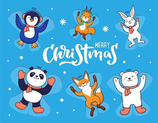 Conjunto de animais fazendo anjos de neve em fundo azul com flocos de neve. Vetor Premium