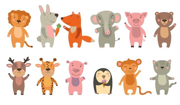 Conjunto de animais feliz desenho animado Vetor grátis