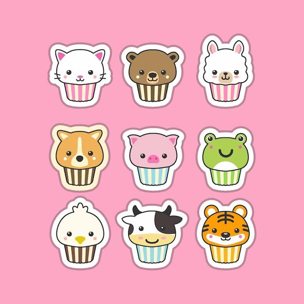 Conjunto de animais fofo cupcake Vetor Premium