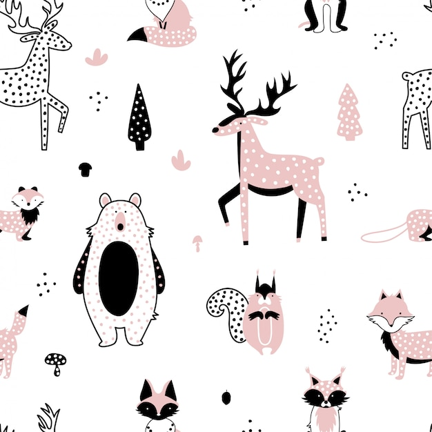 Conjunto de animais fofos da floresta Vetor Premium