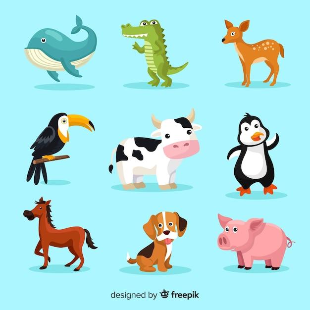 Conjunto de animais fofos de desenhos animados Vetor grátis