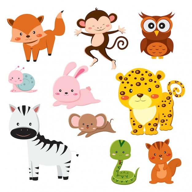 Conjunto de animais fofos dos desenhos animados Vetor Premium