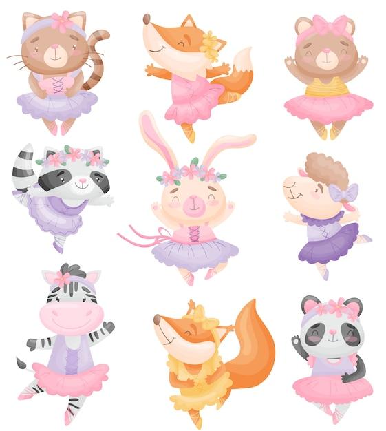 Conjunto de animais fofos em vestidos de bailarina Vetor Premium