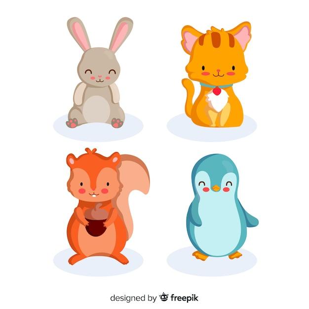 Conjunto de animais fofos ilustrado Vetor grátis