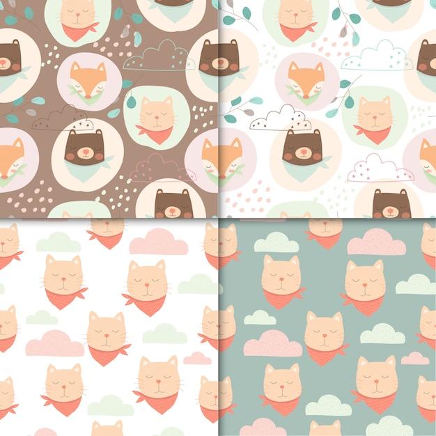 Conjunto de animais fofos padrão sem emenda, desenho bonito de urso e gato para crianças. Vetor Premium