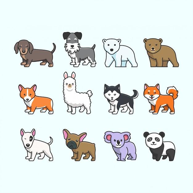 Conjunto de animais fofos Vetor Premium