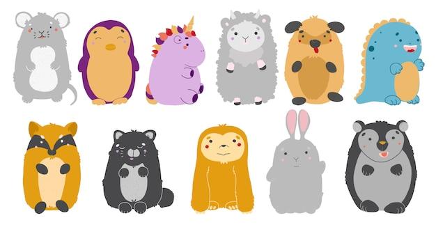 Conjunto de animais kawaii. ilustração de animais fofos. rato, pinguim, unicórnio, ovelha, cão, dinossauro, raposa gato-preguiça urso-lebre Vetor Premium