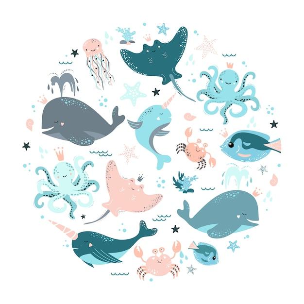 Conjunto de animais marinhos Vetor Premium