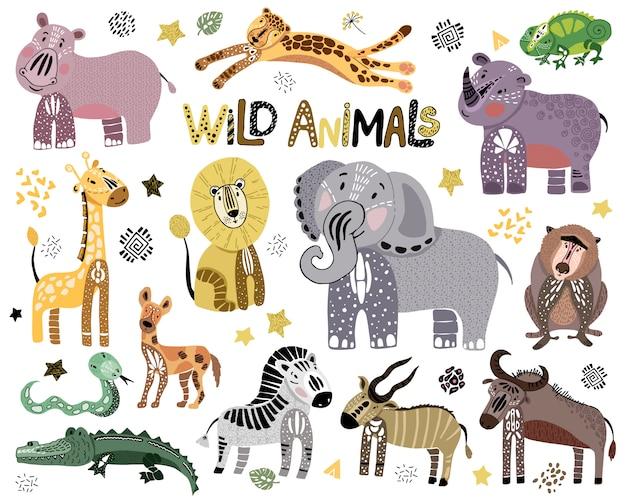 Conjunto de animais selvagens africanos bonitos em branco Vetor Premium
