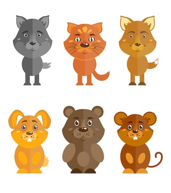 Conjunto de animais selvagens e domésticos Vetor grátis