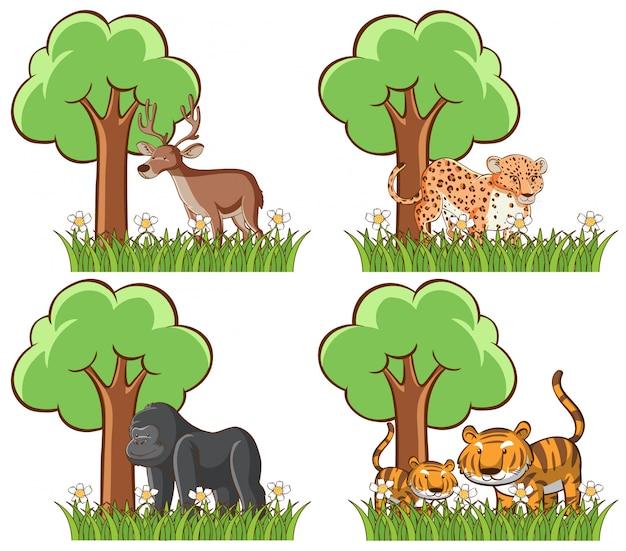 Conjunto de animais selvagens no parque com lago e árvore Vetor grátis