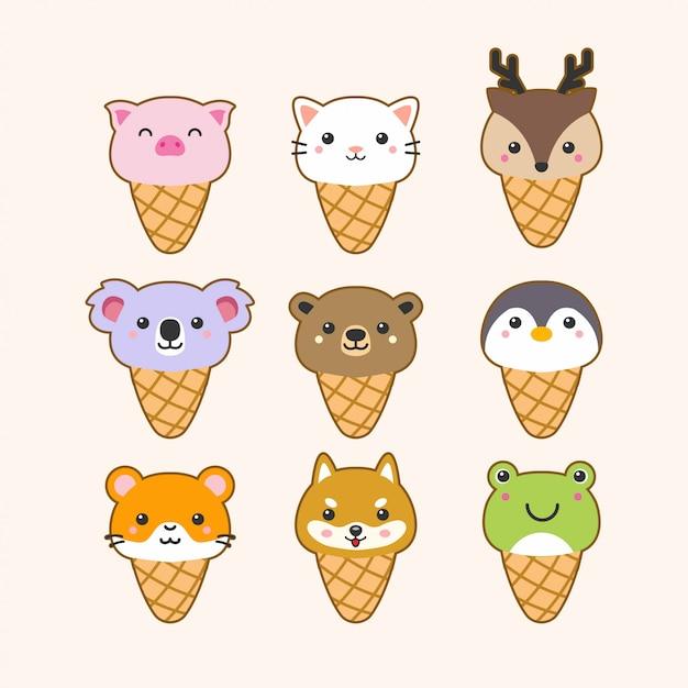 Conjunto de animais sorvete fofo Vetor Premium