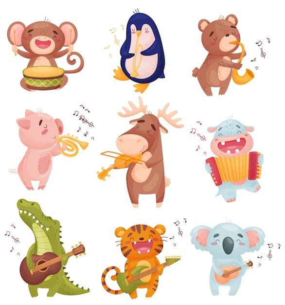 Conjunto de animais tocando instrumentos musicais Vetor Premium