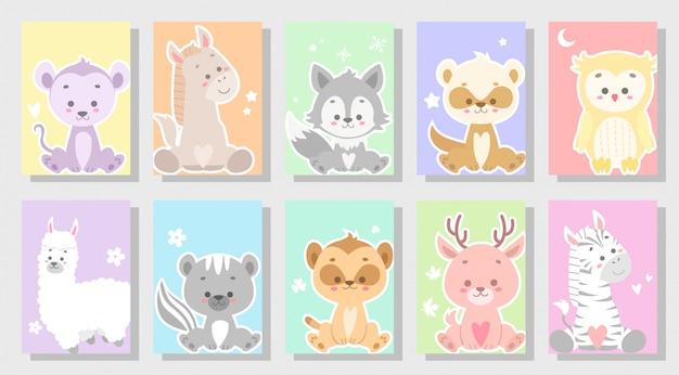 Conjunto de animal feliz fofo Vetor Premium