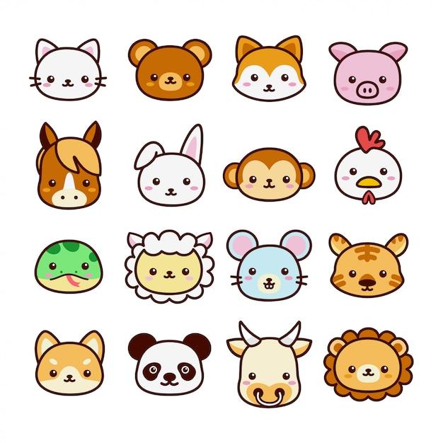 Conjunto de animal fofo e kawaii para crianças aprendendo vocabulário. estilo cartoon plana Vetor Premium