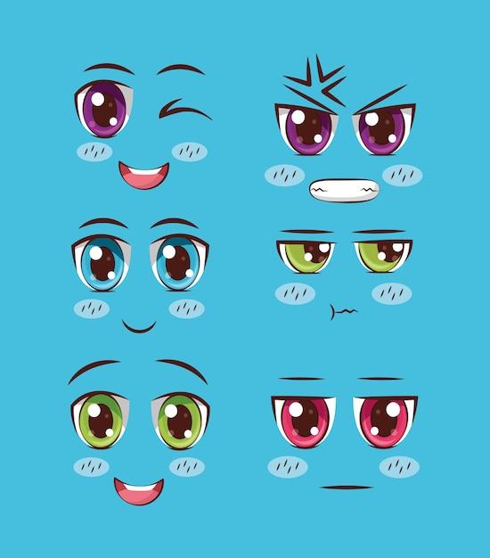 Conjunto de anime de rostos Vetor grátis