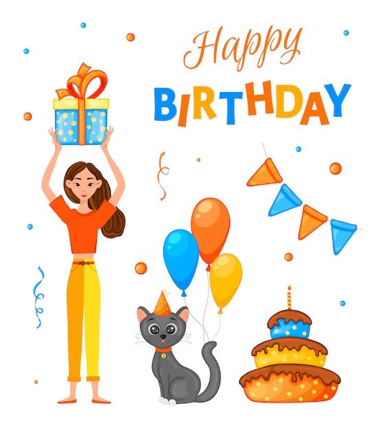 Conjunto de aniversário com uma menina, gato e a inscrição Vetor Premium