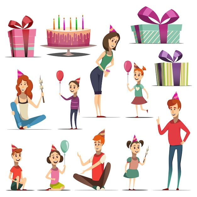 Conjunto de aniversário de criança com meninas, meninos e pais em presentes de chapéus de festa bolo isolado ilustração vetorial Vetor Premium