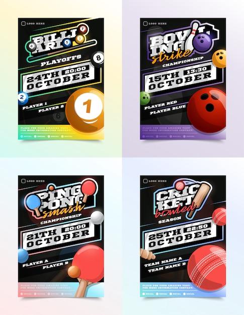 Conjunto de anúncios de panfleto de esporte. bilhar, boliche, tênis de ping pong e críquete Vetor Premium