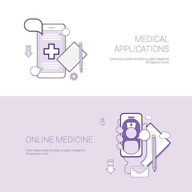 Conjunto de aplicações médicas e banners de medicina on-line Vetor Premium