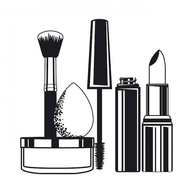 Conjunto de aplicadores compõem pincéis e cosméticos Vetor Premium