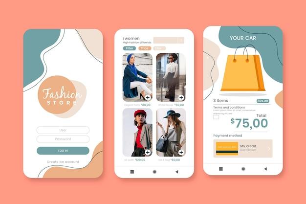Conjunto de aplicativos de compras de moda Vetor grátis