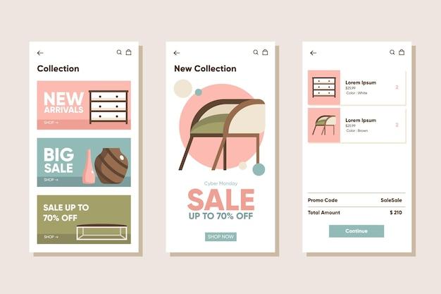 Conjunto de aplicativos de compras de móveis Vetor grátis