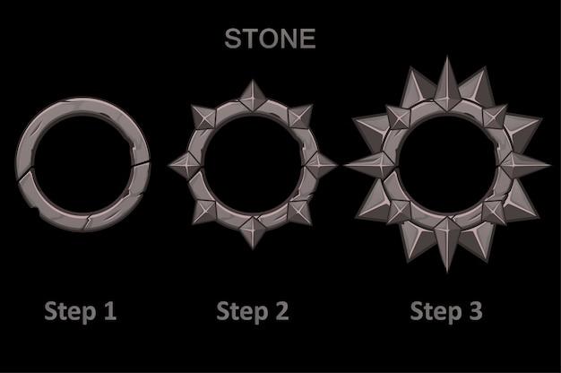 Conjunto de aplicativos de molduras de pedra com pontas em 3 etapas para progredir. molduras redondas no desenho passo a passo. Vetor Premium