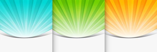 Conjunto de apresentação de plano de fundo sunbutst de três cores Vetor grátis