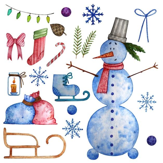Conjunto de aquarela de natal com elementos de inverno. Vetor Premium