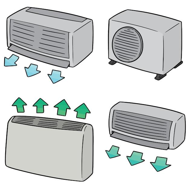 Conjunto de ar condicionado Vetor Premium