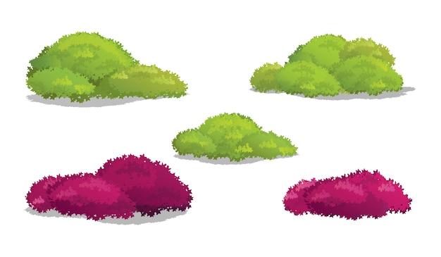 Conjunto de arbustos e arbustos com várias ilustrações vetoriais em forma Vetor Premium
