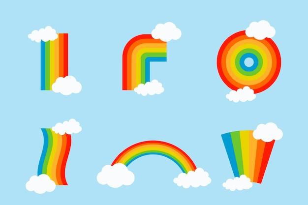 Conjunto de arco-íris coloridos com nuvens Vetor grátis